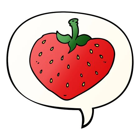 cartoon strawberry with speech bubble in smooth gradient style
