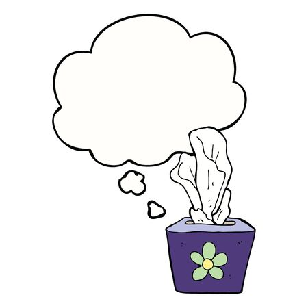 cartoon box of tissues with thought bubble Çizim