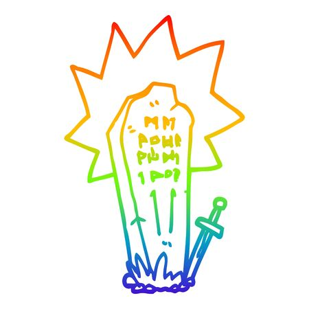 rainbow gradient line drawing of a cartoon heros grave