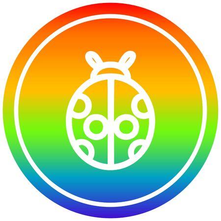 cute ladybug circular icon with rainbow gradient finish