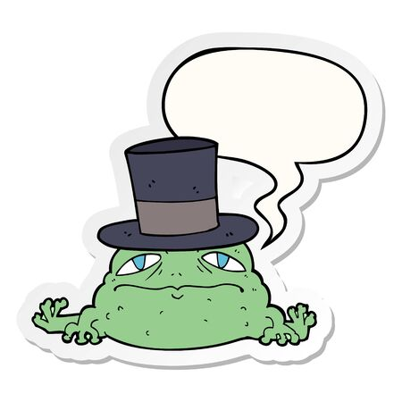 cartoon rich toad with speech bubble sticker