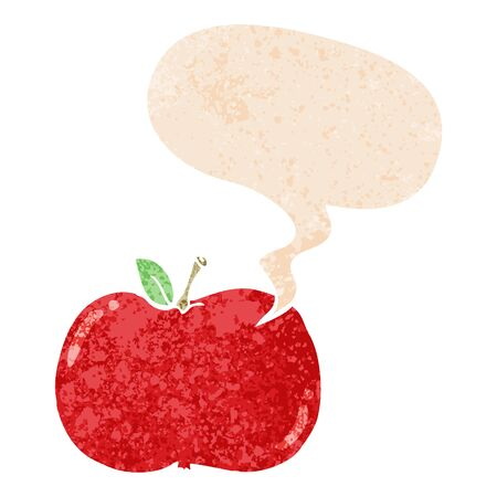 cartoon apple with speech bubble in grunge distressed retro textured style