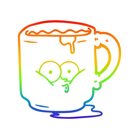 rainbow gradient line drawing of a cartoon dirty office mug