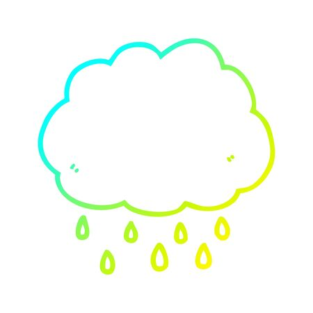 cold gradient line drawing of a cartoon rain cloud Фото со стока - 128307960