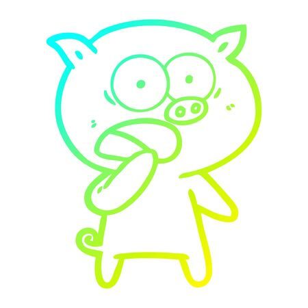 cold gradient line drawing of a shocked pig cartoon  イラスト・ベクター素材