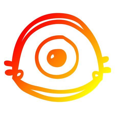 warm gradient line drawing of a cartoon blue eye Ilustração