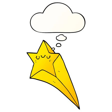 cartoon shooting star with thought bubble in smooth gradient style