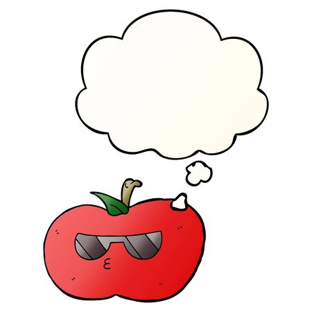 cartoon cool apple with thought bubble in smooth gradient style