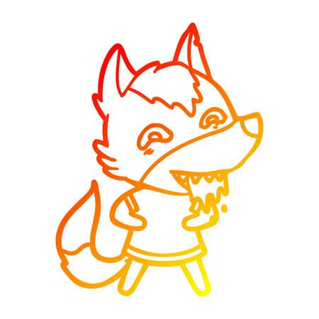warm gradient line drawing of a cartoon hungry wolf Ilustração