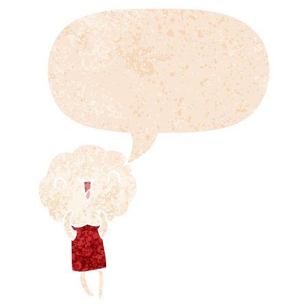cute cartoon cloud head creature with speech bubble in grunge distressed retro textured style Ilustração