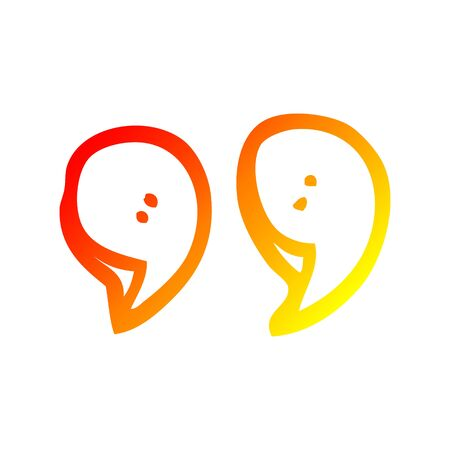 warm gradient line drawing of a cartoon quotation marks