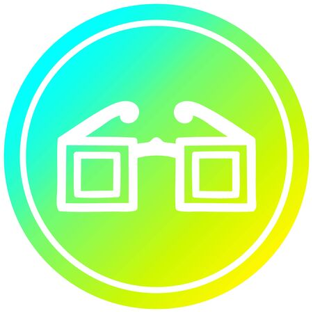 square glasses circular icon with cool gradient finish