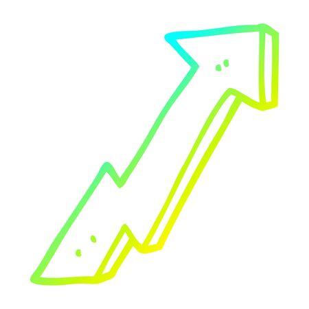 cold gradient line drawing of a cartoon positive growth arrow
