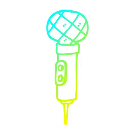cold gradient line drawing of a cartoon gold microphone