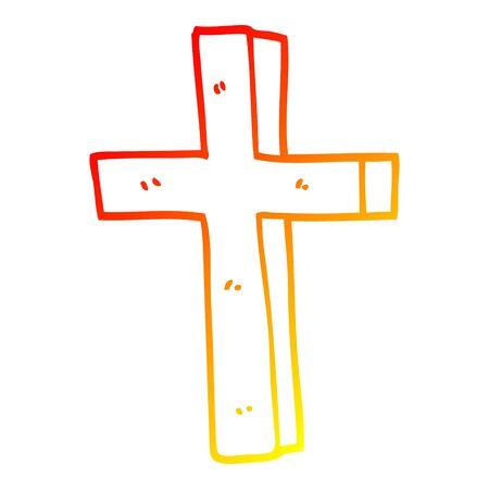 warm gradient line drawing of a cartoon gold cross