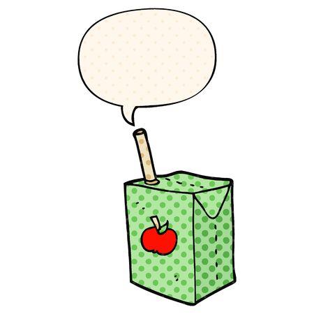 cartoon apple juice box with speech bubble in comic book style