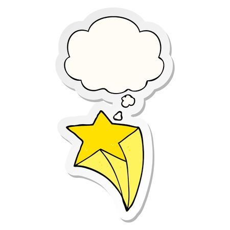 cartoon shooting star with thought bubble as a printed sticker