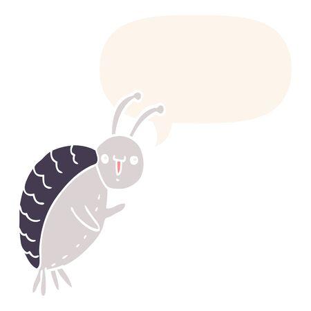 cartoon beetle with speech bubble in retro style