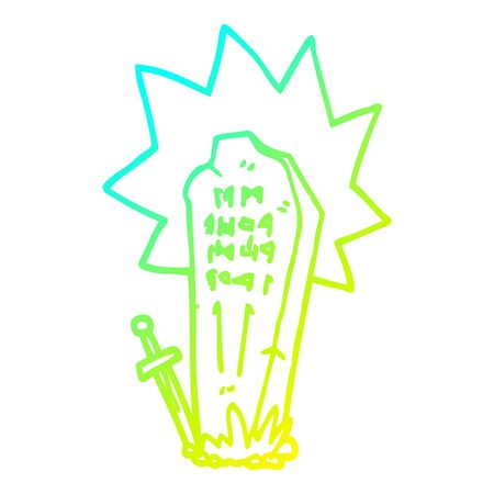 cold gradient line drawing of a cartoon heros grave