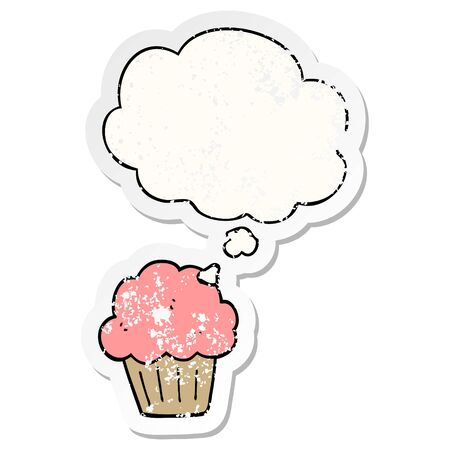 cartoon  muffin with thought bubble as a distressed worn sticker