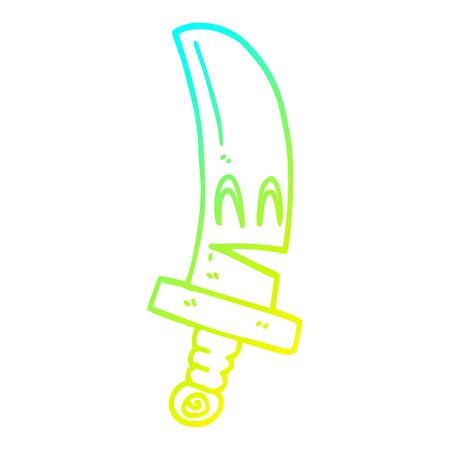 cold gradient line drawing of a cartoon happy magical sword 向量圖像