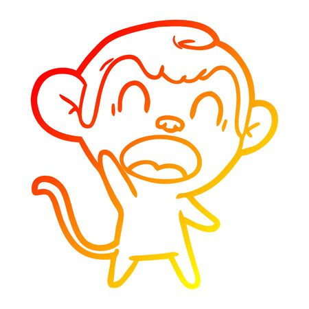 warm gradient line drawing of a shouting cartoon monkey Illustration