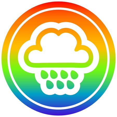 rain cloud circular icon with rainbow gradient finish 向量圖像