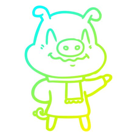cold gradient line drawing of a nervous cartoon pig wearing scarf