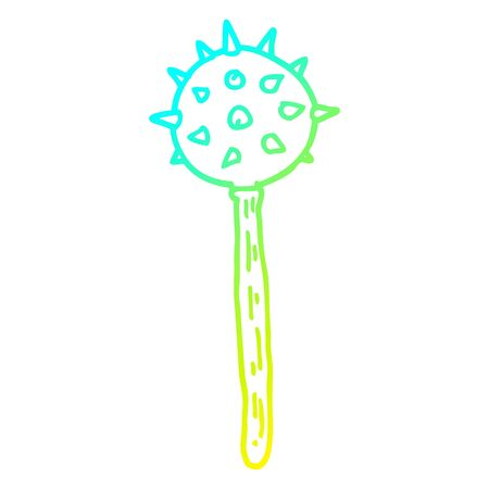 cold gradient line drawing of a cartoon medieval mace