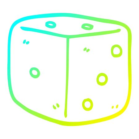 cold gradient line drawing of a cartoon red dice Banque d'images - 128328115