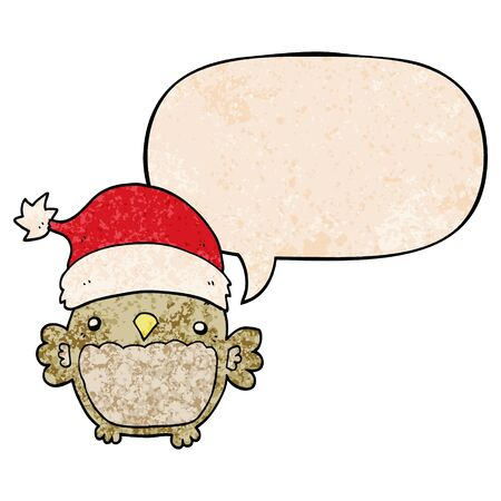 cute christmas owl with speech bubble in retro texture style