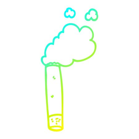 cold gradient line drawing of a cartoon cigarette Stok Fotoğraf - 128328119