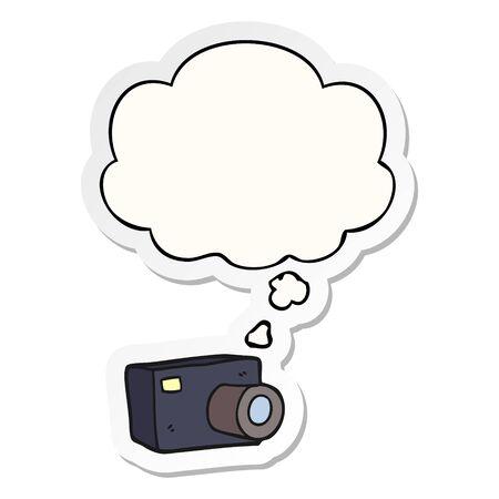 cartoon camera with thought bubble as a printed sticker Ilustração