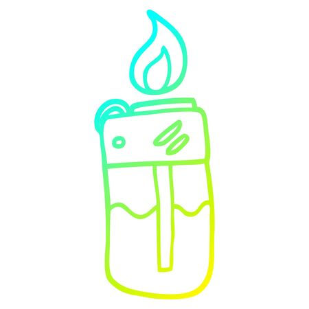 cold gradient line drawing of a cartoon cigarette lighter Banco de Imagens - 128318518