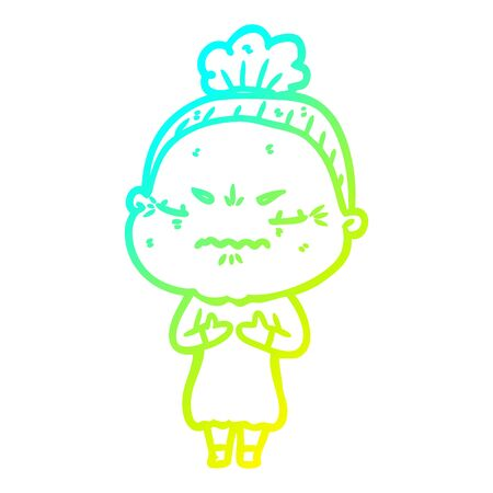 cold gradient line drawing of a cartoon annoyed old lady