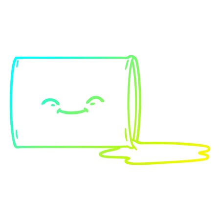 cold gradient line drawing of a cartoon happy oil drum