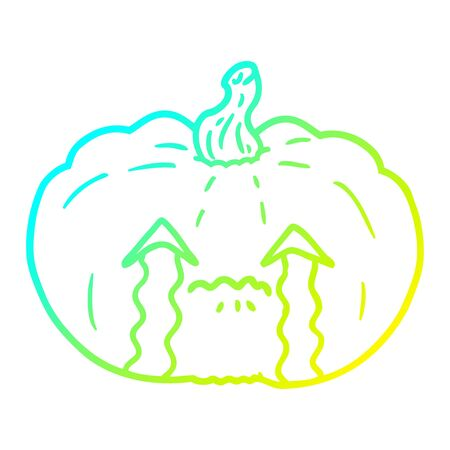 cold gradient line drawing of a cartoon crying halloween pumpkin 矢量图像