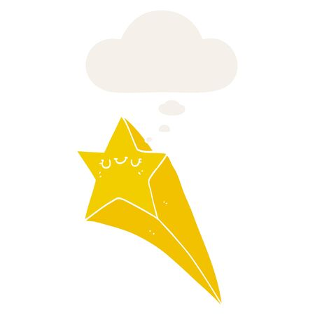 cartoon shooting star with thought bubble in retro style Ilustração