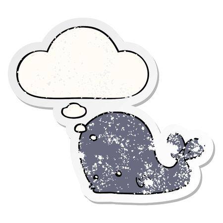 cartoon whale with thought bubble as a distressed worn sticker Çizim
