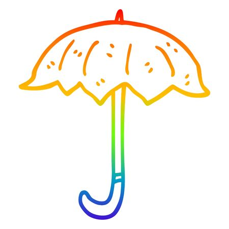 rainbow gradient line drawing of a cartoon open umbrella