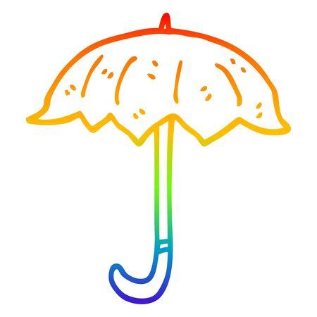 rainbow gradient line drawing of a cartoon open umbrella