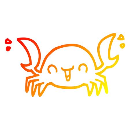 warm gradient line drawing of a cartoon crab