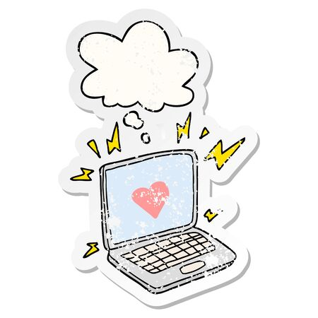 internet dating cartoon  with thought bubble as a distressed worn sticker