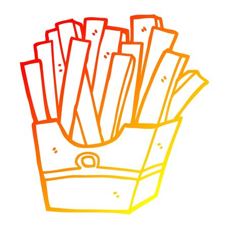 warm gradient line drawing of a cartoon fries