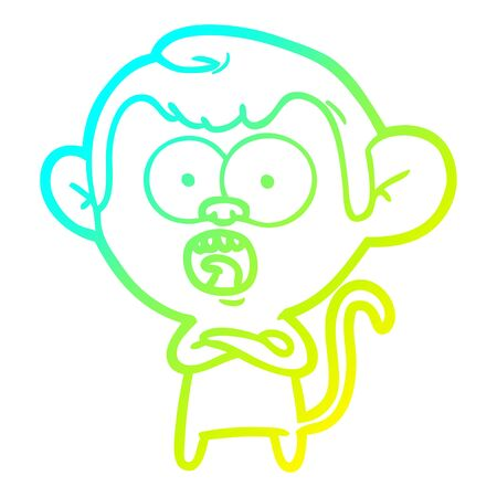 cold gradient line drawing of a cartoon shocked monkey