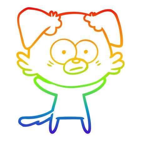 rainbow gradient line drawing of a nervous dog cartoon