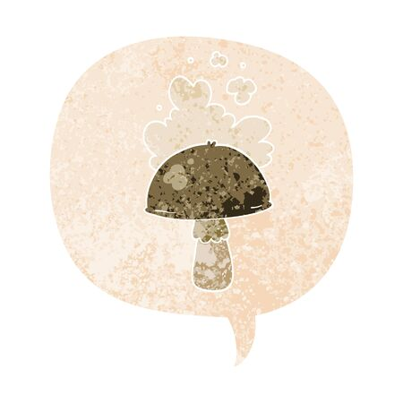 cartoon mushroom with spore cloud with speech bubble in grunge distressed retro textured style