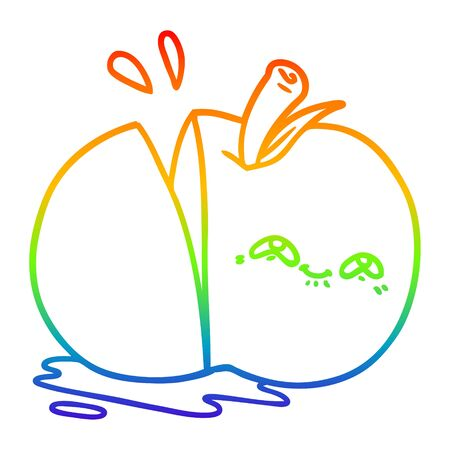 rainbow gradient line drawing of a cartoon sliced apple  イラスト・ベクター素材