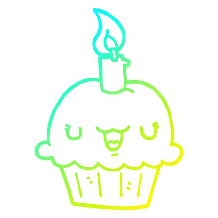 cold gradient line drawing of a cartoon cupcake Illustration