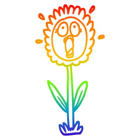 rainbow gradient line drawing of a cartoon shocked sunflower